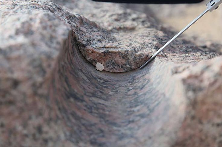 Obvious example of an ancient core drill at work at the site called Abu Sir in Egypt. In this cross section we can even see the thickness of the drill itself. Image Credit