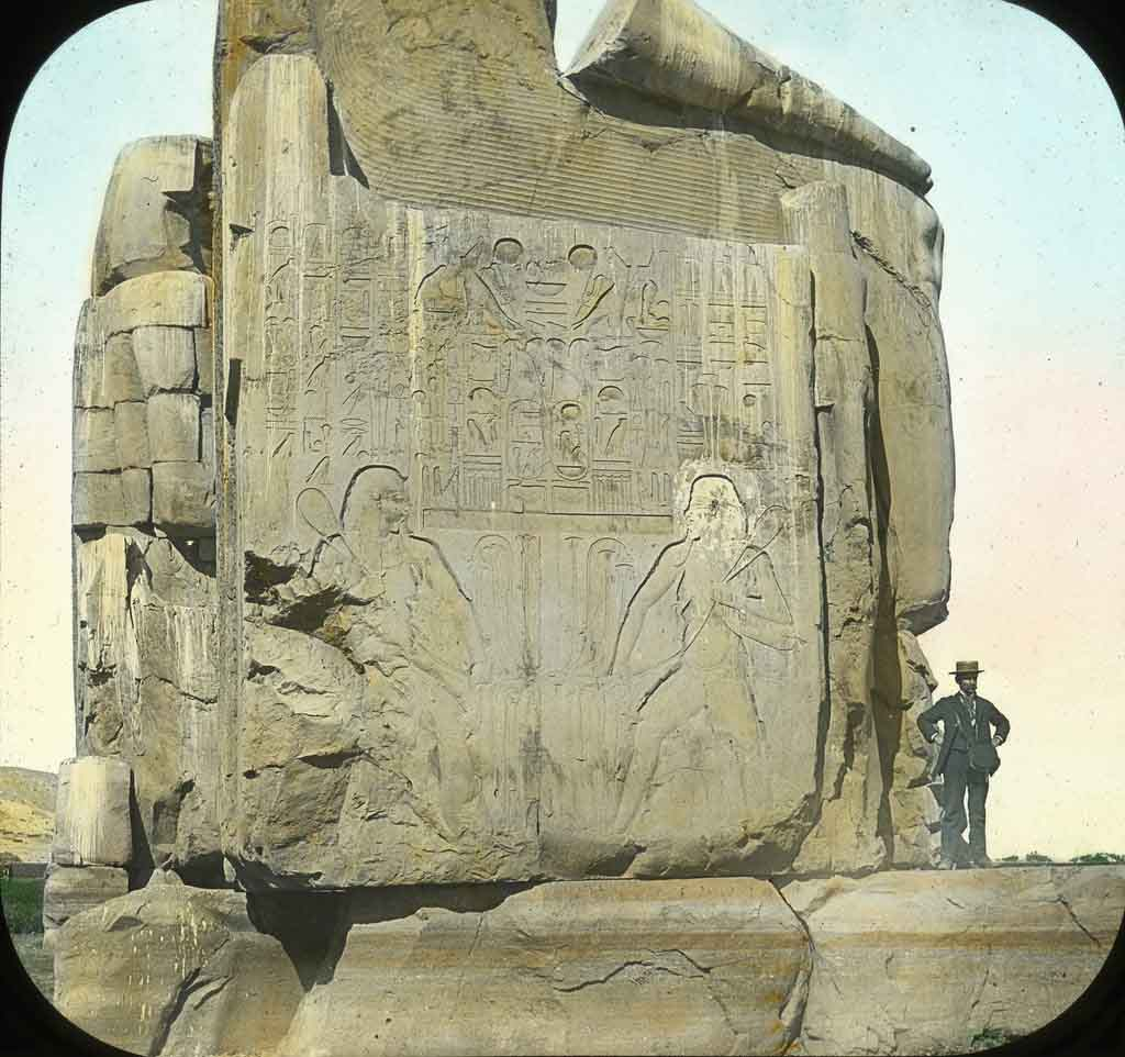 An old image of the Colossi of Memnon