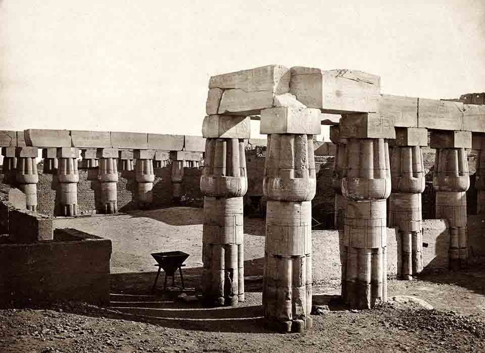 Another beautiful 'rare' image of Luxor, the Court of Amenhotep III. The image was photographed circa 1858.