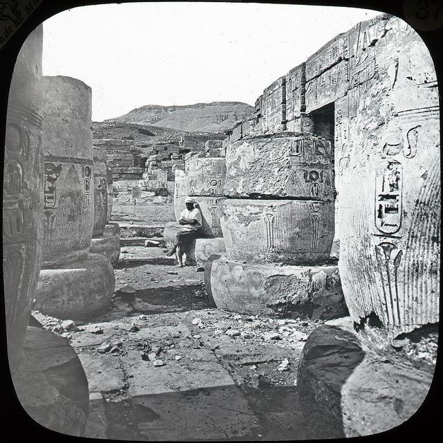 A rare image of the court of the Madinet Habu temple.