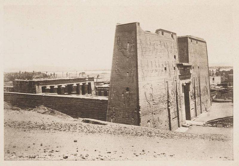 A beautiful image of the Temple of Horus in Edfu. The image was taken circa 1905.