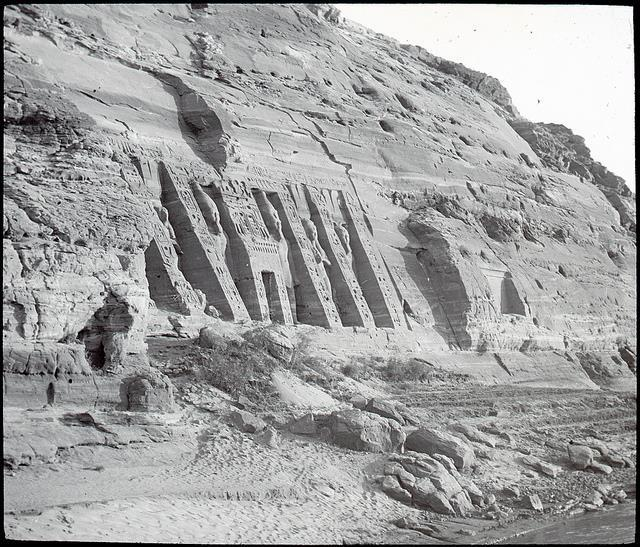 This is a rare image of the Nefertari temple in its original state around 1890-1900.