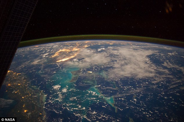 Pictured above, the Caribbean can be seen from the International Space Station