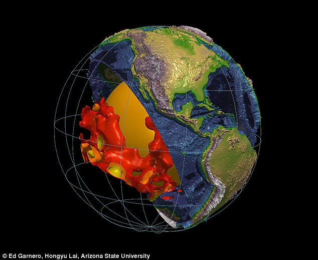 The gigantic blob-like structures are located on top of Earth's core and are believed to be composed of a different material than that which comprises the rest of the mantle.
