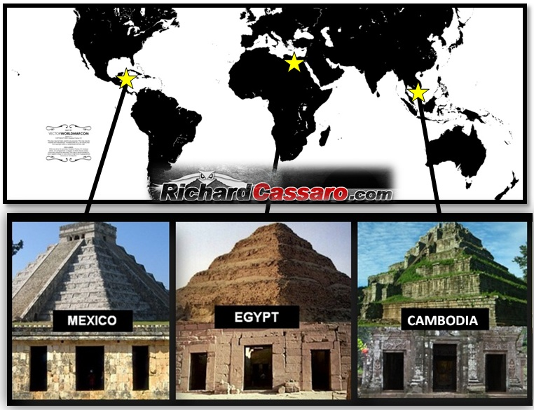 "My ""Triptych Temple"" discovery, known online as the ""Mexico-Egypt-Indonesia Pyramids Connection"" or the ""Mexico-Egypt-Cambodia Pyramids Connection."" -Richard Cassaro."