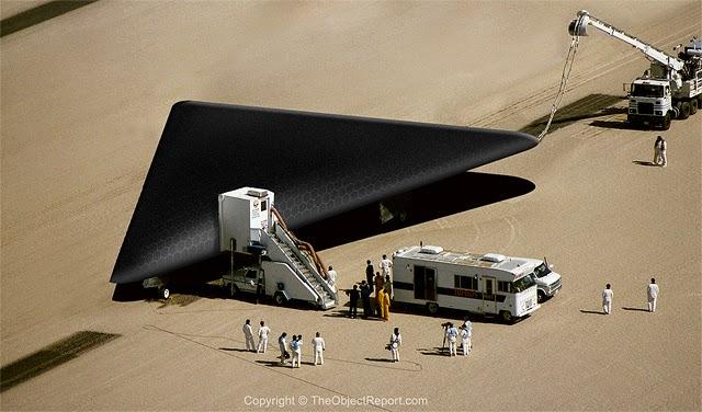 Black Triangle UFO Illustration.