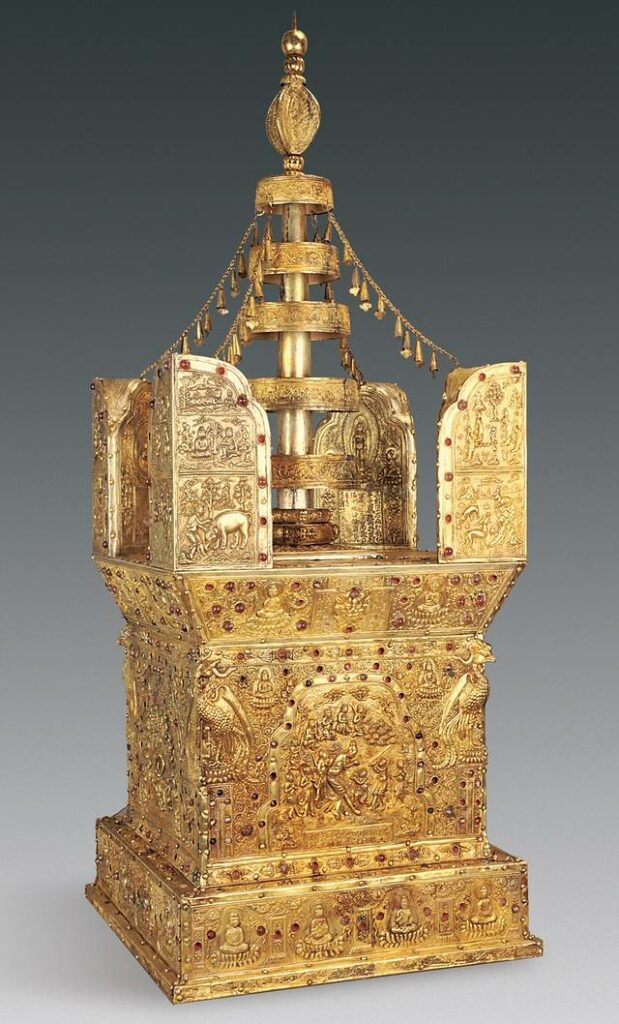 This model of a stupa, which is usually used for meditation, was found hidden beneath Grand Bao'en Temple in Nanjing, China. The 1,000-year-old stupa was created from sandalwood, silver and gold. Credit: Photo courtesy of Chinese Cultural Relics