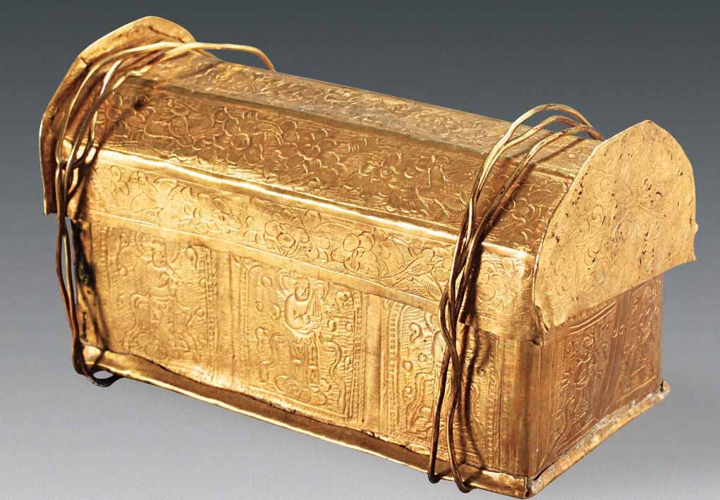 The skull bone belonging to Buddha was found hidden inside this gold casket, which was in turn stored in a silver casket within a stupa model, found hidden away in a crypt, located beneath a Buddhist temple. Credit: Photo courtesy of Chinese Cultural Relics