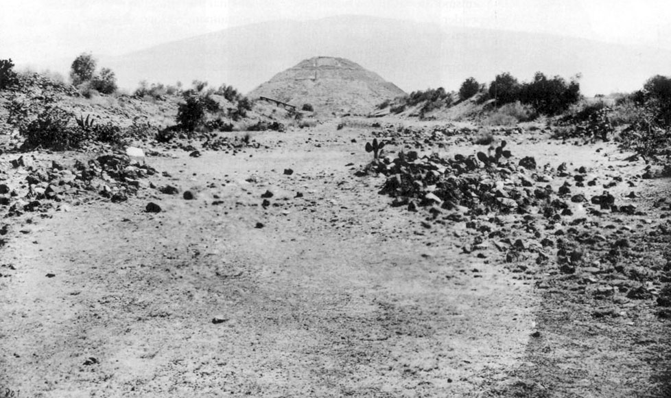 Avenue Of The Dead with Pyramid Of The Moon in 1905, before restoration. Teotihuacan, Mexico. Image Credit
