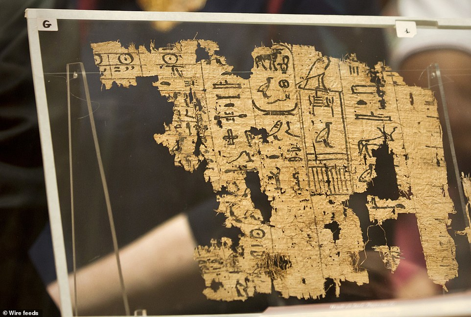 A visitor looks at one of the oldest papyri in the history of Egyptian writing among the collection of King Khufu papyri discovered at Wadi El-Jarf port, as it is on display for the first time at the Egyptian museum in Cairo, Egypt, Thursday, July 14, 2016. (AP Photo/Amr Nabil)