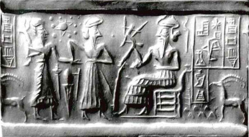 Image result for This Ancient Sumerian Cylinder Seal is said to depict 12 planets in our Solar System