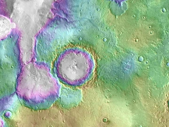 "Valleys much younger than well-known ancient valley networks on Mars are evident near the informally named ""Heart Lake"" on Mars. Image credit: NASA/JPL-Caltech/ASU"