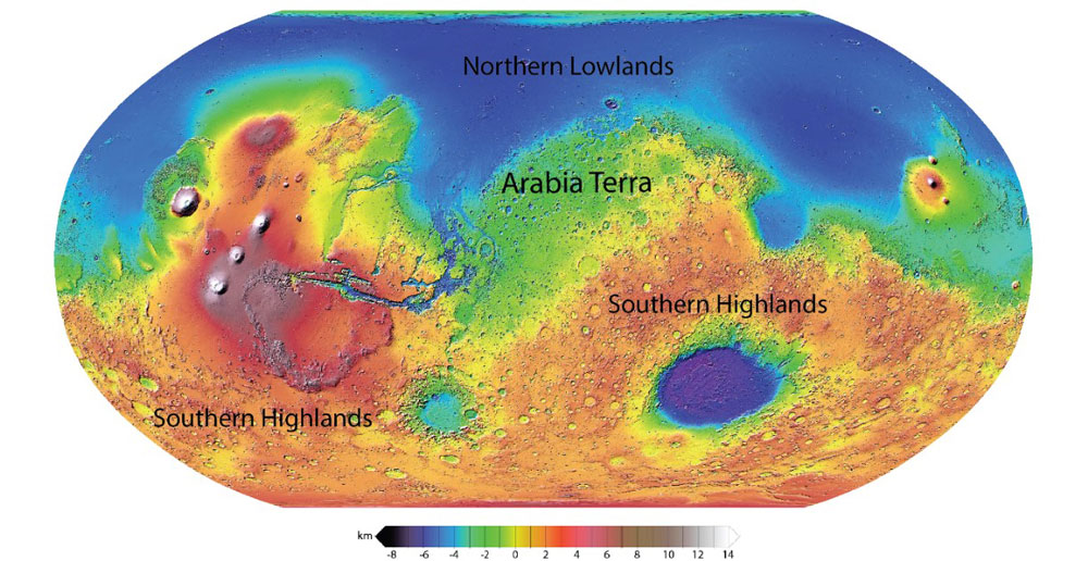 A topographic map of Mars. Image credit: NASA
