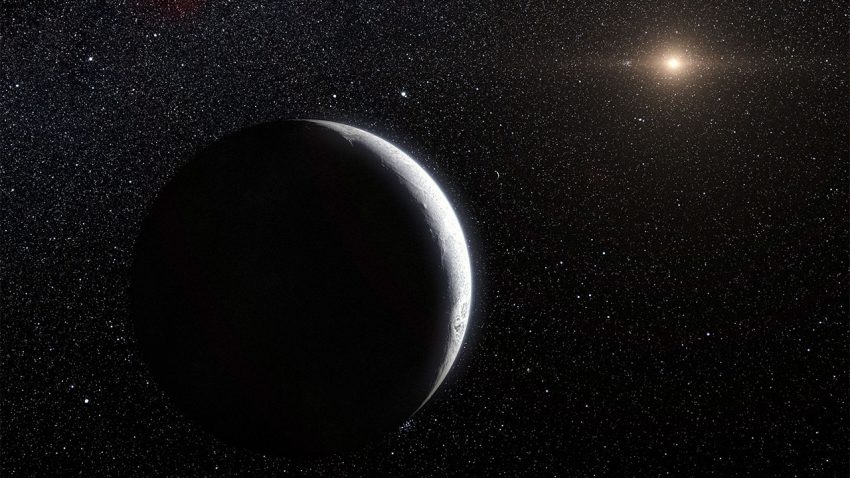 L91's 20,000-year orbit may have been shaped by an external force. L. Calçada/ESO
