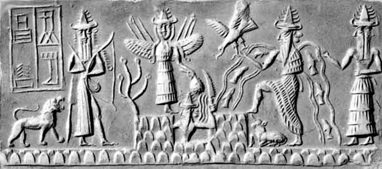 Sumerian tablet depicting Enki in the creation myth. ( world-myth.com)