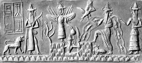 Sumerian tablet depicting Enki in the creation myth. ( world-myth.com)