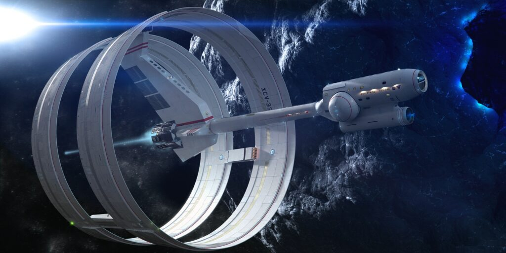 Artist's concept of an interstellar craft equipped with an EM Drive. Credit and Copyright: Mark Rademaker.