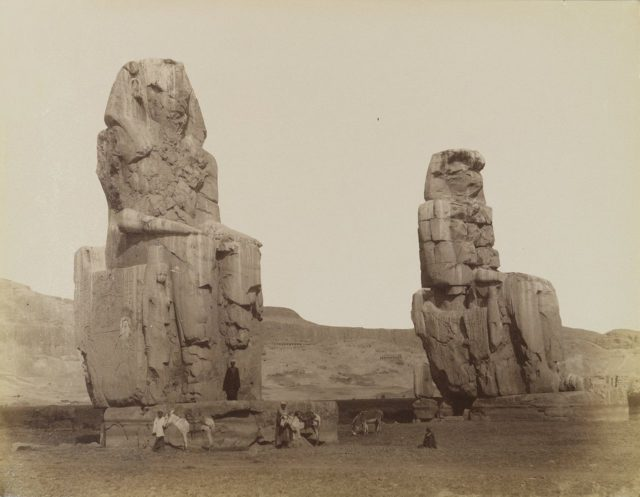 The Magnificent Colossi of Memnon Antonio-Beato-Colosses-de-Memnon-19th-century.-Brooklyn-Museum-640x497