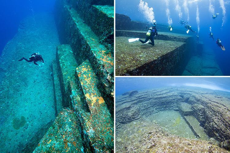 Composite image of the Yonaguni ruins