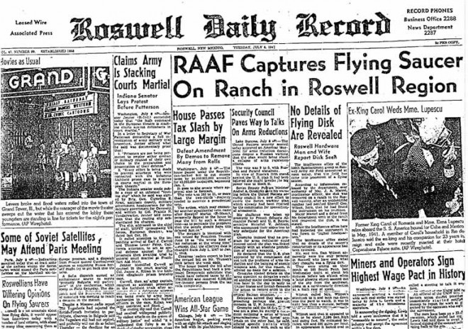 A newspaper report about the Roswell UFO crash.