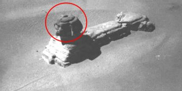 An old image of the Sphinx of Giza with an opening on its head