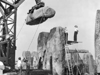 A view of reconstructions at Stonehenge