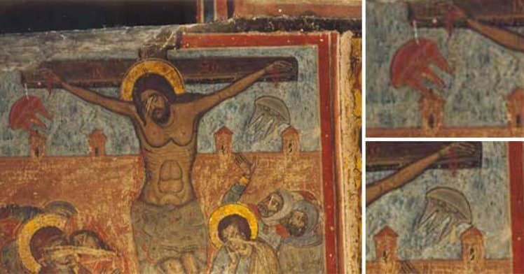 Painted in history: two UFO's spotted in ancient painting of Jesus Christ?