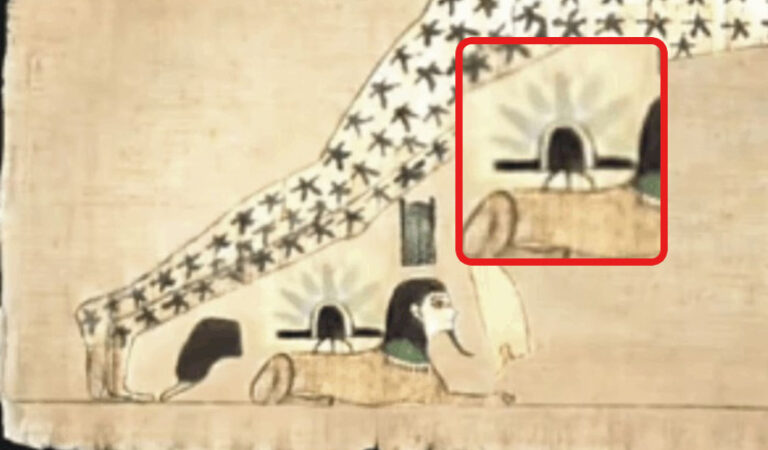 Does this Ancient Egyptian manuscript show a UFO landing on the Sphinx?