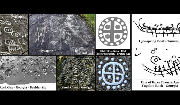 4,000 year old Bronze Age petroglyphs in Sweden became the sacred symbols of Georgia's Creek Indians