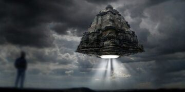 An artists rendering of a flying Vimana.