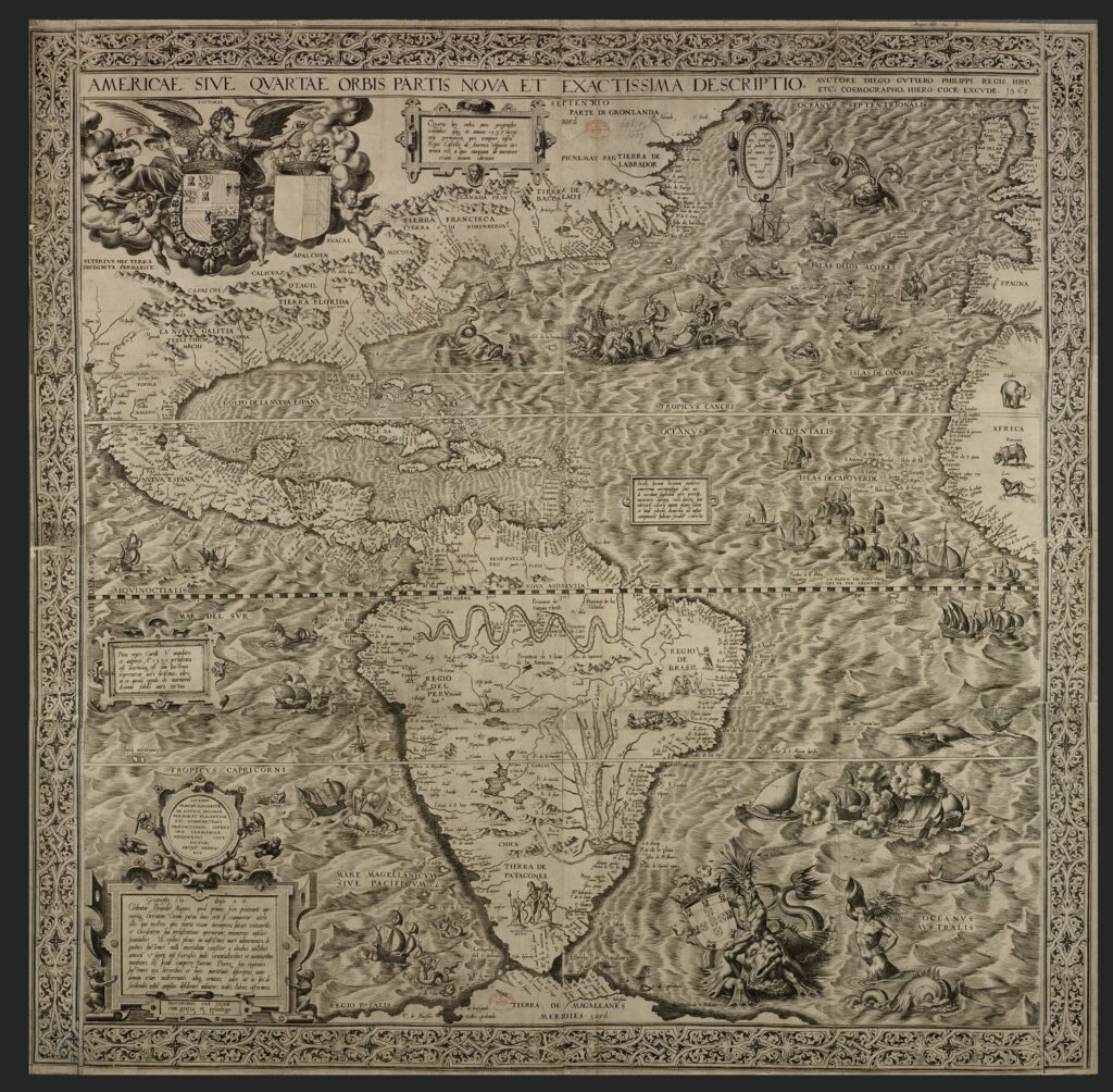An ancient map of America—published in the 1500's, depicts a