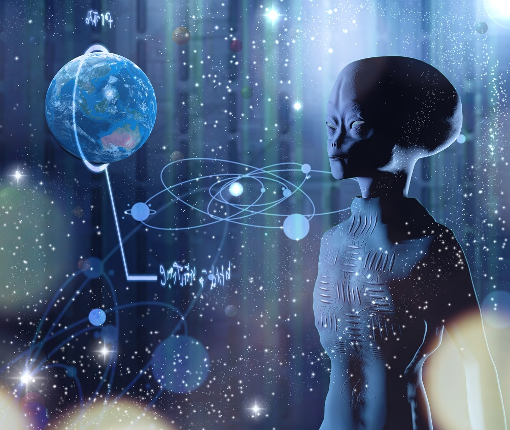 Una ilustración de artistas de un extraterrestre dentro de una nave espacial.