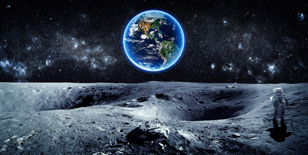 An image of the moon and Earth in the distance.