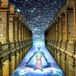 An illustration of meditation, the stars and a mystic library