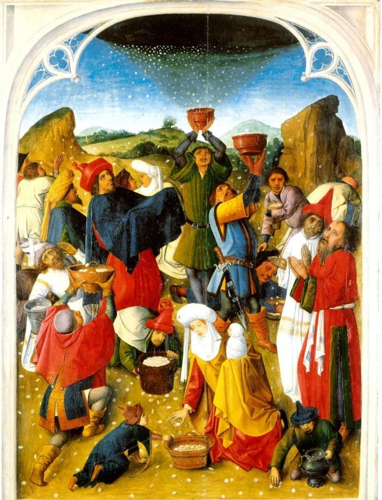 Artists painting of the gathering of Manna