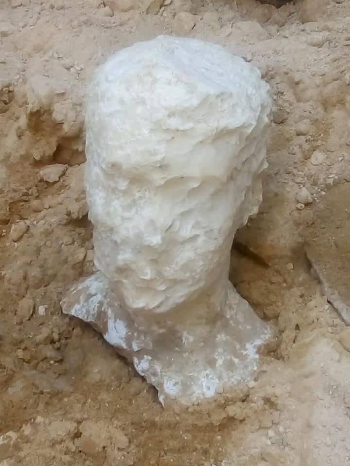 An alabaster head.