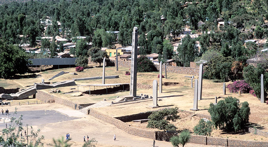 The Northern Stelae Park in Axum, with the King Ezana's Stele at the centre and the Great Stele lying broken.