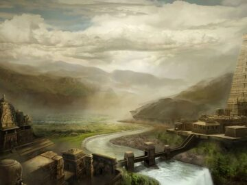 An artists rendering of a legendary ancient city.