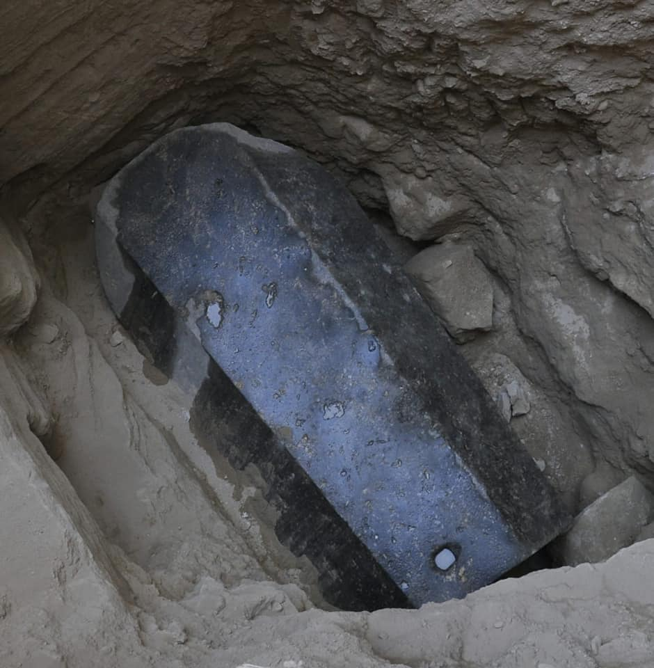 A recently unearthed granite Sarcophagus in Alexandria
