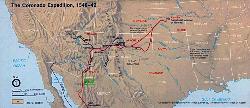 A map of the Coronado Expedition.