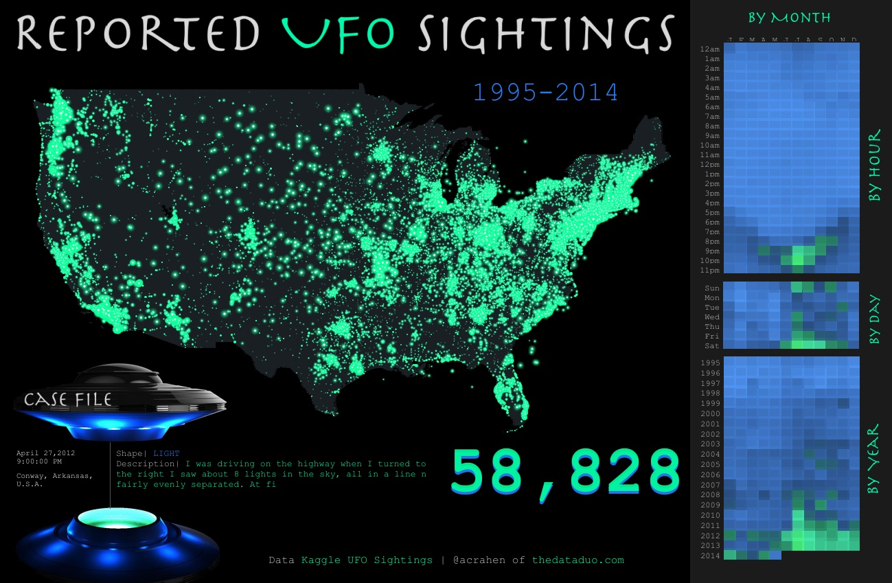 Supposed UFO sightings have lit this map up like a Christmas tree