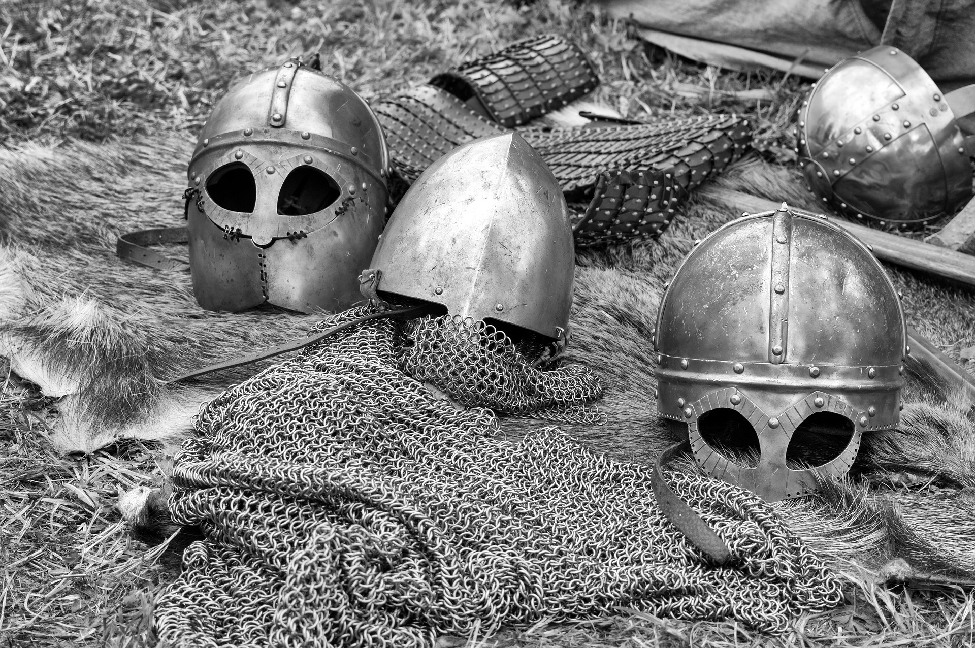Helm and chainmail on the ground