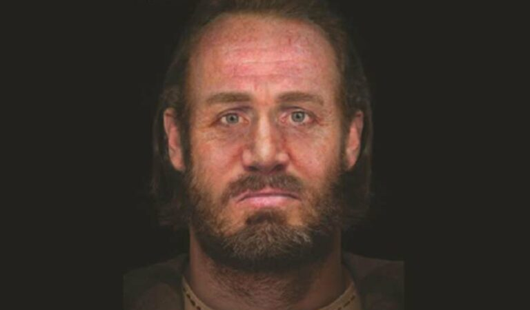 The face of a man found in a 'six-headed burial' in Scotland is revealed